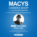 MACYS Camera Shop on it's 4th Year Anniversay Celebration brings you a Travel Photography Workshop with Tamron Image Master Ricky Ladia :) On April 18, 2015 (Saturday), 1-5pm at Henrys Hotel, Banilad. Come register for FREE now at MACYS Banilad or APM Mall Branches :)