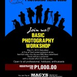 An F22 Photographers Club Basic Photography Workshop coming this may 31st at Fire of God Center, Solomon Drive, Banilad, Cebu City (across AA BBQ), only at P1000. :) Payments also accepted at MACYS Banilad or APM Mall Branches. :)