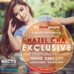 Inviting all Amateur and Professional Photographer to join Exclusive Openshoot with crush nang bayan Hazel Cha FHM Model :)  Early bird 1,500 till July 31, 2016 Aug. 1-10, 2016 registration fee P1,700 Reservation fee is 500 and non-refundable You can pay at any Macys branch or any Kwarta Padala express and send it to Chelito Bestorillo, 09155007110  Deadline: Aug. 10, 2016 Venue: The Henry Hotel  *Please contact Chelito Bestorillo / 09155007110 for any inquiries*  Sponsors: Macys Camera Shop – Banilad Branch MACYS Photo-Video Store APM Mall Branch Avalon Spa Wellness and Massage