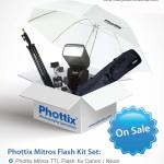 "Phottix Mitros Flash Kit Set- P11,000 (SALE) - includes Phottix Mitros Flash, 75"" Lightstand, 28"" Gear Bag, US-A2 Umbrella Swivel, 33"" Shoot Thru Umbrella"