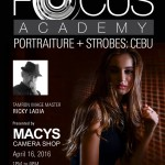 MACYS Camera Shop on it's 5th Year Anniversay Celebration brings you again Tamron Image Master Ricky Ladia for a Tamron Focus Academy Portraiture and Strobes Workshop :) On April 16, 2016 (Saturday), 1-8pm at Room B, Trade Hall, SM City Cebu. Come register now for FREE at MACYS Banilad or APM Mall Branches :) See you all :)
